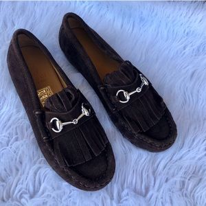 Boys Gucci Suede Horsebit Loafers Size 32/1.5